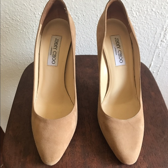 d3b94782c0 Jimmy Choo Shoes - Jimmy Choo Vikki Nude Suede Pumps Size 8
